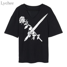 Wholesale women gothic t shirts - Lychee Rose Sword Hollow Out Summer Women T Shirt Harajuku Punk Gothic Short Sleeve T Shirt Tee Top Female