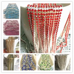 yard cup wholesale Promo Codes - Wholesale 1-Row 1 yard SS8 Cystal Rhinestone Trim Close Cup Chain Claw DIY Jewelry Making