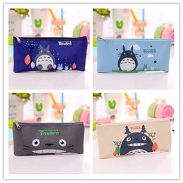 matite all'ingrosso del fumetto Sconti 9 Style Studente Cartoon Pencil Bag Miyazaki Totoro Pencil Case Stationery Oxford Panno di stoffa Borsa all'ingrosso Bel regalo per i bambini