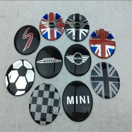 Wholesale Mirror Flags - 4 pcs 52mm colorful England Flag for MINI WORKS S Car Wheel Center Hub Cap Badge wheel Dust-proof covers logo 3D Stickers Decal