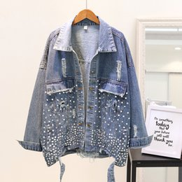 Jackets & Coats Good Studded Holes Denim Coat Women 2019 Spring Fall Clothes New Heavy Hand Bead Drill Loose Jeans Jacket Ladies Basic Jackets Femme