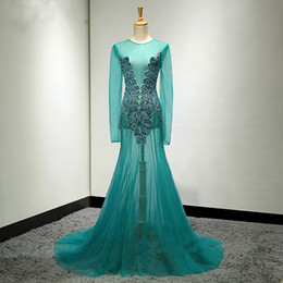 Wholesale Womens Long Length Shirts - 2018 See through Womens Prom Dress Beaded Turquoise Teal Special Design Custom Made Party Maxi Gowns Sexy Dresses Floor Length