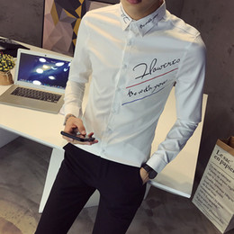 e2c73d6e3b9 2018 autumn new men s solid color casual shirt Korean Slim youth English  embroidery long-sleeved shirt men s tide