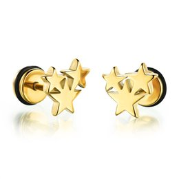 Wholesale Titanium Ear Cuffs - Retro star earrings mens earring titanium steel punk two sided round sheet screw stud earring Jewelry for men TE301