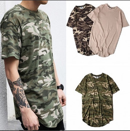 Wholesale mens camo shirt xl - 2018 Summer Solid Curved Hem Camo T-shirt Men Longline Extended Camouflage Hip Hop Tshirts Urban Kpop Tee Shirts Mens Clothing