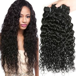 Wholesale wet wavy hair extensions - 7A Water Wave Hair Curly Weave Remy Brazilian Virgin Hair Wet and Wavy Malaysian Human Hair Extensions 4 Bundles Ocean Natural Wave Weave