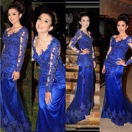 Wholesale White Tull Dress - Elegant Royal Blue Mermaid Prom Dresses 2018 New Long Sleeve Lace Applique Tull Floor Length Formal Evening Dress Party Gown Custom Made