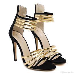 Wholesale Western Dress Shoes - New Fashionl Women High Heel Pumps open Toe Elegant Western style Metal decoration sandals Sexy tassel balck Lady party shoes Plus Size