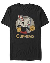 Gráficos circulares online-Camiseta con gráfico de Cuphead con logo para hombre, retrato del círculo