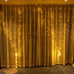 decorações da luz da janela indoor do natal Desconto Luzes da cortina luzes de natal 3 * 3 M 300LED Janela String Luz para Festa de Casamento Casa Jardim Quarto Ao Ar Livre Indoor Decorações De Parede Flash