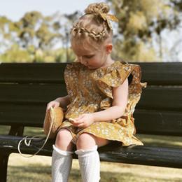 Abiti per ragazze Abiti da principessa Abiti per bambini INS Cotone Floreale Maniche a volo Gonne Infant Toddler New Abbigliamento per bambini Bambini Y82 da vestiti occidentali del bambino all'ingrosso fornitori