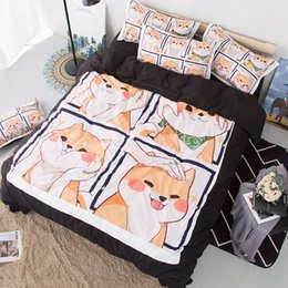 browning bedding Promo Codes - Cute Shiba Inu Soft Bedding Set Pets Dog Queen Duvet Cover Sets Adults Kids Twin King cartoon new Luxury fashion 3D Bedclothes