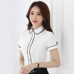 Wholesale Korean Women S Casual Wear - Women Blouse Summer Top Short Sleeve Shirt Blouses Professional Wear Korean Fashion Ladies Office White Shirt