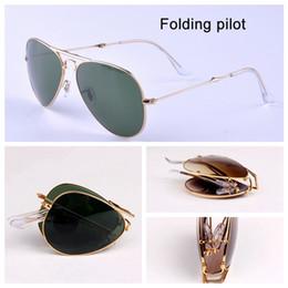 3479 Pilot Falten Echtglas Objektiv Sonnenbrillen Luftfahrt Frauen Männer heiß Strahlen Sonne Brille männlich weiblich G15 Objektiv UV400 mit Falten passen Pakete von Fabrikanten