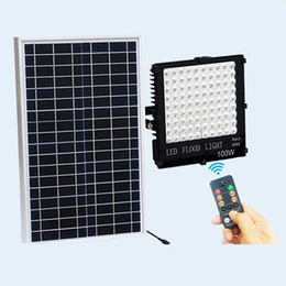 Wholesale Battery Powered Lamps - Outdoor Solar LED Flood Lights 100W 50W 30W 10W Lamps Waterproof IP65 Lighting Floodlight Battery Panel Power Remote Contorller