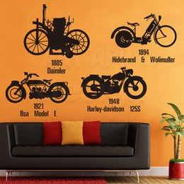 Wholesale Cheap Engine - Art New Design Home Decoration Vinyl Motor Bike Wall Sticker Colorful House Decor Cheap Traffic Engines Decals