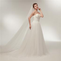 Wholesale Princess Chest - Simple A-Line Wedding Dress Chest Feather Decoration Thin Net Catch Church Beach Wedding Dress Trailing New