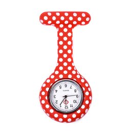 dot watches Coupons - Red white dots pattern Silicone Nurses Brooch Tunic Fob Pocket Watch Stainless Dial