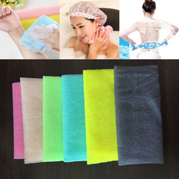 Wholesale bath skin - 30*90cm Salux Nylon Japanese Exfoliating Beauty Skin Bath Shower Wash Cloth Towel Back Scrub Bath Brushes Multi Colors WX9-440