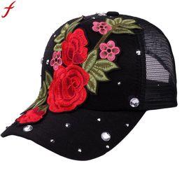de222c05234261 Embroidery Flower Baseball Mesh Cap 2018 summer korean Rose Rhinestone  Adjustable Snapback Hat For Men Women gorros hombre