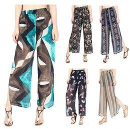 Wholesale wide leg chiffon pants - Women Floral Chiffon Wide Leg Pants Spring Summer Patchwork Casual Loose Irregular Trousers 13 Styles 10pcs LJJO4765