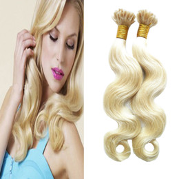 Wholesale black u tip hair - 613 Blonde Brazilian Body Wave Hair Extensions 100% Remy Human Hair Nail U Tip Pre Bonded Capsules Hair Extension 100g