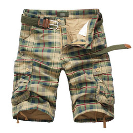 Wholesale mens multi pocket cargo pants - Summer Knee Length Mens Casual Plaid Shorts Tooling Straight Male Shorts Cargo Short Multi-pocket Casual Beach Pants