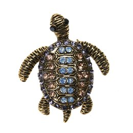 Wholesale Wholesale Turtle Shells - Retro Steampunk Turtle Shell Brooches Women Boho Alloy Small Tortoise 32*38mm Brooches Pins 2017