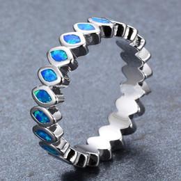 Opala homens prata anel on-line-Antique 925 Sterling Silver Filled Clássico Rodada Branco Verde Azul Fire Opal Anéis Para Mulheres Dos Homens Melhores Amantes de Casamento Bandas