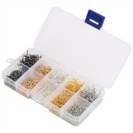 Wholesale Diy Ball Earrings - Earring Ball Wire Fish Hooks And 5 Colors Open Jump Rings For Handmade Beaded Chain Material 1 Box DIY Earrings Craft Free DHL D816L
