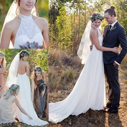 Wholesale Open Back Wedding Dresses Empire - 2018 Spring Summer Boho Wedding Dresses A Line Halter Neck Sexy Open Back Chiffon Long Western Country Bridal Gowns Cheap