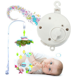 Wholesale Music Box Movement - Wholesale-Hot Sale Universal Lovely Baby Rattles Mobile Crib Bed Bell Kid Toy Windup Movement Music Box Develop Toy White 11.5 x 4cm