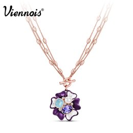 Wholesale Opal Pendant Rose Gold Chain - whole saleNewest Viennois Fashion Jewelry Rose Gold Color Flower Pendant Necklace Purple Crystal Opal Stone Chain Necklaces