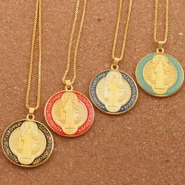medalha de moda Desconto Misturar Esmalte Rodada São Bento Medalha Pingente Cruz Celta Cristão Pingente Colares N1668 24 polegadas Moda Jóias