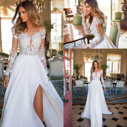 button front lace dress 2018 - 2018 Bohemian A Line Wedding Dresses Summer Beach Sheer Neck Illusion Long Sleeves Keyhole Side Split Lace Appliques Chiffon Bridal Gowns