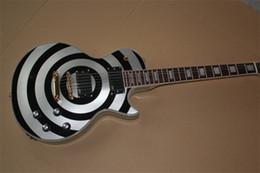 guitarras emg Desconto Venda quente de Alta Qualidade Custom Shop Zakk Wylde bullseye Prata Preto EMG Guitarra Elétrica Frete Grátis
