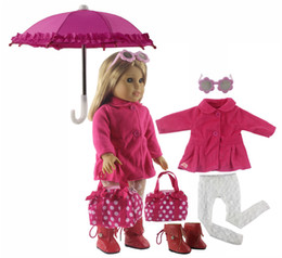 Set rosa online-New 1 Set Pink Dress Doll Clothes for 18'' American Girl Bitty Baby Doll Handmade Fashion Lovely Clothes X88
