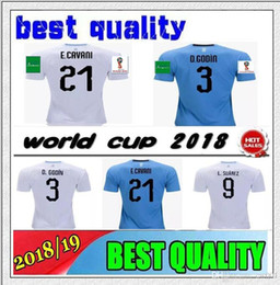 Wholesale more free - 2018 World Cup Uruguay Soccer Jersey 9 Suarez 3 Diego Godin 10 Forlan 6 Pereira 17 18 First quality Jersey 10 or more free to send DHL