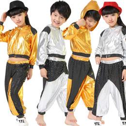 9a0817e2ea45 dance costume kids boys 2019 - Girls Boys Gold Silver Ballroom Jazz Hip Hop  Dance Competition