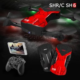 Wholesale Mini Live Camera - SH6 Selfie mini Drone RC Quadcopter 4CH 6-Axis Gyro 200W WIFI Live Transmisson UAV Drones with Camera hd FPV and HD rc Helicopter VS H37