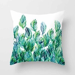 Wholesale Hospital Art - Fashionable Tropical Plants Polyester Pillow Office Sofa Cushion Cover, Peach skin velvet pillow case (without pillow)Cloth art sofa