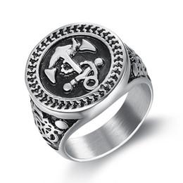 L'anello di ancoraggio delle dita online-Big Size Punk 316L in acciaio inox 20 mm Anchor Casting Ring Pirate Navigate Finger Ring per gli uomini Gioielli di moda del partito