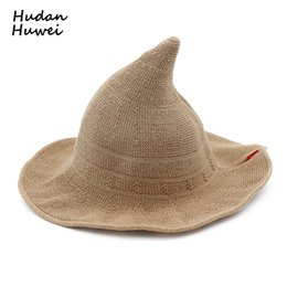 c81cd8d0276 Women ladies Cotton Witch Hats Wide Brim Knitted wizard hat Folding  portable Bucket Hats casual Fisherman cap chapeau for female S18101708