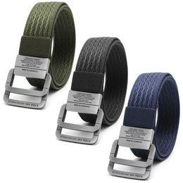 New Men Military Equipment Tactical Canvas Belt Fashion Double Ring Buckle Waistband Black,Dark Green,Dark Blue