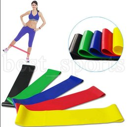 Wholesale strength band latex - 5PCS Set Resistance Band fitness 5 Levels Latex Gym Strength Training Rubber Fitness Equipment Sports yoga belt Training Band KKA5225