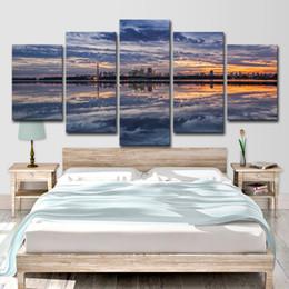 2019 pinturas de paisajes de la ciudad Lienzo HD Prints Pictures Living Room Decor Posters 5 piezas Sunset Glow Seaside City Clouds Landscape Paintings Wall Art rebajas pinturas de paisajes de la ciudad