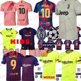 Jerseys de fútbol para mujeres online-10 Messi Barcelona Soccer Jersey 8 Iniesta 9 Suarez 26 MALCOM 11 Dembele Coutinho Camisetas de fútbol Hombre Mujer Niños kits 2019 nuevo Alta calidad