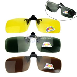 Gafas de sol para el día noche online-Polarized Day Night Vision Clip-on Lentes Flip-up Gafas de sol Gafas de conducción Drop ship #