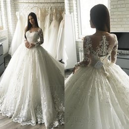 vestidos de novia de manga larga elegante simple Rebajas 2020 de lujo apliques del cordón largo de las mangas de los vestidos de boda de la princesa tribunal tren elegante Dubai árabe musulmana A-line Vestidos de novia barato BC2546