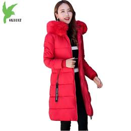 Plus size 6XL Giacca invernale da donna in cotone Cappotto spesso caldo Parka Cappotto invernale con cappuccio in pelliccia Cappotto lunghezza media Slim OKXGNZ1182 da